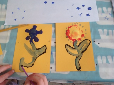 Yellow card, flowers, paint